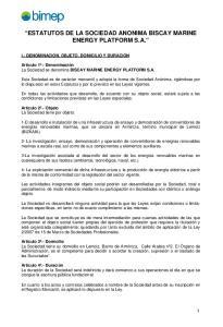 ESTATUTOS DE LA SOCIEDAD ANONIMA BISCAY MARINE ENERGY PLATFORM S.A