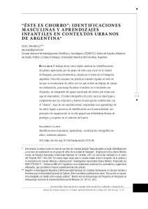 ÉSTE ES CHORRO : IDENTIFICACIONES MASCULINAS Y APRENDIZAJES INFANTILES EN CONTEXTOS URBANOS DE ARGENTINA*