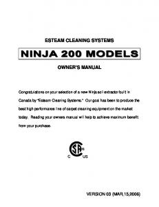 ESTEAM CLEANING SYSTEMS OWNER S MANUAL