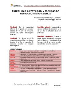 ESTERILIDAD, INFERTILIDAD Y TECNICAS DE REPRODUCTIVIDAD ASISTIDA