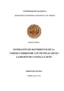 ESTIMACIÓN DE MOVIMIENTOS DE LA CORTEZA TERRESTRE CON TÉCNICAS GPS EN LA REGIÓN DE CASTILLA Y LEÓN