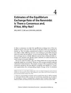 Estimates of the Equilibrium Exchange Rate of the Renminbi: Is There a Consensus and, If Not, Why Not?