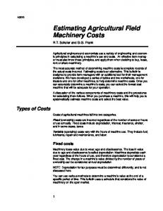 Estimating Agricultural Field Machinery Costs
