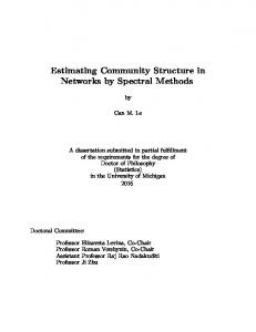 Estimating Community Structure in Networks by Spectral Methods