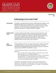 Estimating Corn Grain Yield