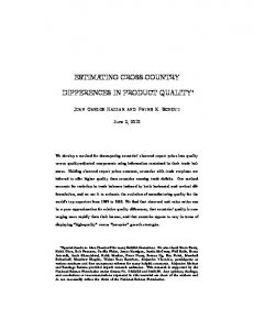 ESTIMATING CROSS-COUNTRY DIFFERENCES IN PRODUCT QUALITY