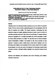 Estimating the Cost of a New Technology Intensive Automotive Product: A Case Study Approach