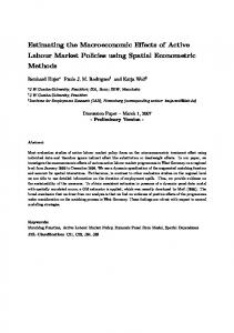 Estimating the Macroeconomic Effects of Active Labour Market Policies using Spatial Econometric Methods