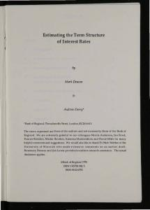 Estimating the Term Structure of Interest Rates