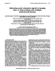 Estimating weak ratiometric signals in imaging data. II. Meta-analysis with multiple, dual-channel datasets