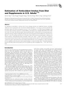 Estimation of Antioxidant Intakes from Diet and Supplements in U.S. Adults 1 3