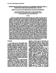ESTIMATION OF GENETIC VARIABILITY IN TURMERIC (CURCUMA LONGA L.) GERMPLASM USING AGRO-MORPHOLOGICAL TRAITS