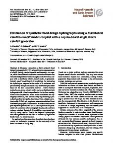 Estimation of synthetic flood design hydrographs using a distributed rainfall runoff model coupled with a copula-based single storm rainfall generator