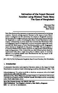 Estimation of the Export Demand Function using Bilateral Trade Data: The Case of Bangladesh
