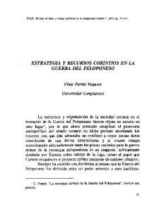 ESTRATEGIA Y RECURSOS CORINTIOS EN LA GUERRA DEL PELOPONESO