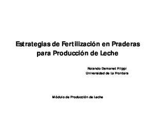 Estrategias de Fertilización en Praderas para Producción de Leche
