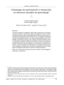 Estrategias de participación e interacción en entornos virtuales de aprendizaje *