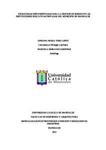 ESTRATEGIAS IMPLEMENTADAS PARA LA GESTION DE RIESGO EN LAS INSTITUCIONES EDUCATIVAS PRIVADAS DEL MUNICIPIO DE MANIZALES