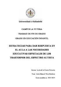 ESTRATEGIAS PARA DAR RESPUESTA EN EL AULA A LAS NECESIDADES EDUCATIVAS ESPECIALES DE LOS TRASTORNOS DEL ESPECTRO AUTISTA