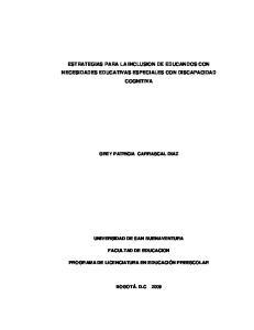 ESTRATEGIAS PARA LA INCLUSION DE EDUCANDOS CON NECESIDADES EDUCATIVAS ESPECIALES CON DISCAPACIDAD COGNITIVA