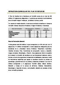 ESTRUCTURA CURRICULAR DEL PLAN DE ESTUDIOS