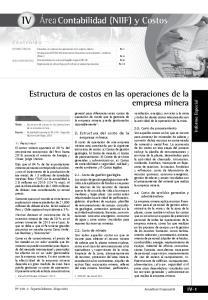 Estructura de costos en las operaciones de la empresa minera