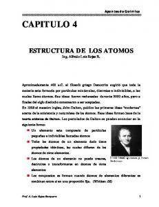 ESTRUCTURA DE LOS ATOMOS Ing. Alfredo Luis Rojas B