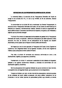 ESTRUCTURA DE LOS PRESUPUESTOS GENERALES DEL ESTADO