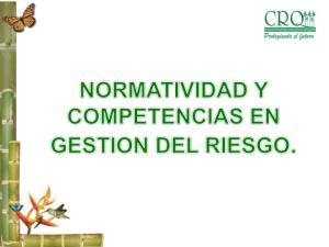 ESTRUCTURA GENERAL DE LA GESTION DEL RIESGO LEY 46 DE