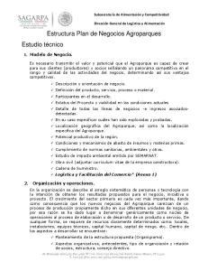 Estructura Plan de Negocios Agroparques