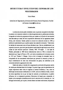 ESTRUCTURA Y EVOLUCION DEL GENOMA DE LOS VERTEBRADOS