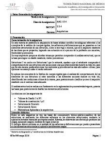 Estructuras II ARC SATCA 1 : Arquitectura. Carrera: