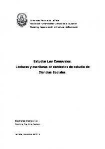 Estudiar Los Carnavales. Lecturas y escrituras en contextos de estudio de Ciencias Sociales