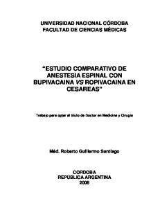 ESTUDIO COMPARATIVO DE ANESTESIA ESPINAL CON BUPIVACAINA VS ROPIVACAINA EN CESAREAS