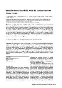 Estudio de calidad de vida de pacientes con coxartrosis