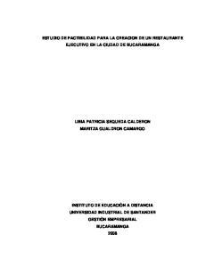 ESTUDIO DE FACTIBILIDAD PARA LA CREACION DE UN RESTAURANTE EJECUTIVO EN LA CIUDAD DE BUCARAMANGA