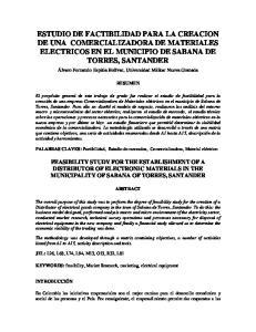 ESTUDIO DE FACTIBILIDAD PARA LA CREACION DE UNA COMERCIALIZADORA DE MATERIALES ELECTRICOS EN EL MUNICIPIO DE SABANA DE TORRES, SANTANDER