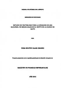 ESTUDIO DE FACTIBILIDAD PARA LA CREACION DE UNA SUCURSAL DE MIGUELCAJAS EN EL NORTE DE LA CIUDAD DE QUITO