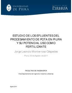 ESTUDIO DE LOS EFLUENTES DEL PROCESAMIENTO DE POTA EN PIURA Y SU POTENCIAL USO COMO FERTILIZANTE