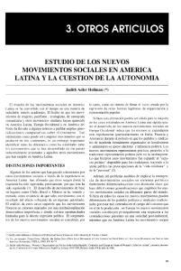 ESTUDIO DE LOS NUEVOS MOVIMIENTOS SOCIALES EN AMERICA LATINA y LA CUESTION DE LA AUTONOMIA