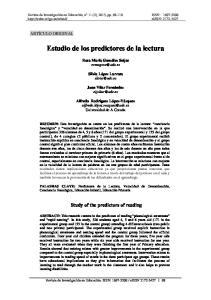 Estudio de los predictores de la lectura