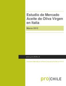 Estudio de Mercado Aceite de Oliva Virgen en Italia