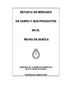 ESTUDIO DE MERCADO DE CUERO Y SUS PRODUCTOS EN EL REINO DE SUECIA