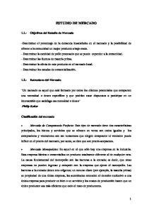 ESTUDIO DE MERCADO Objetivos del Estudio de Mercado