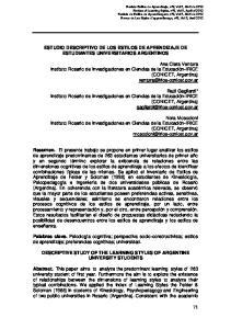 ESTUDIO DESCRIPTIVO DE LOS ESTILOS DE APRENDIZAJE DE ESTUDIANTES UNIVERSITARIOS ARGENTINOS
