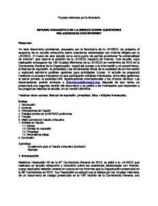 ESTUDIO EXHAUSTIVO DE LA UNESCO SOBRE CUESTIONES RELACIONADAS CON INTERNET