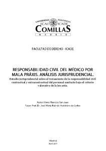 Estudio jurisprudencial sobre el tratamiento de la responsabilidad civil contractual y extracontractual del personal sanitario bajo el criterio