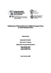 Estudio para el Mejoramiento de la Calidad del Agua de Pozos en Zonas Rurales de Puno