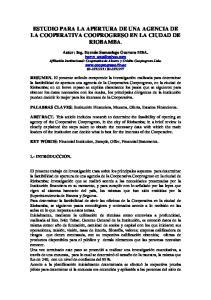 ESTUDIO PARA LA APERTURA DE UNA AGENCIA DE LA COOPERATIVA COOPROGRESO EN LA CIUDAD DE RIOBAMBA