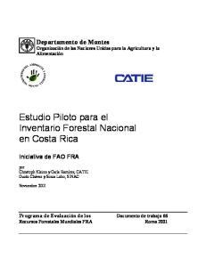 Estudio Piloto para el Inventario Forestal Nacional en Costa Rica